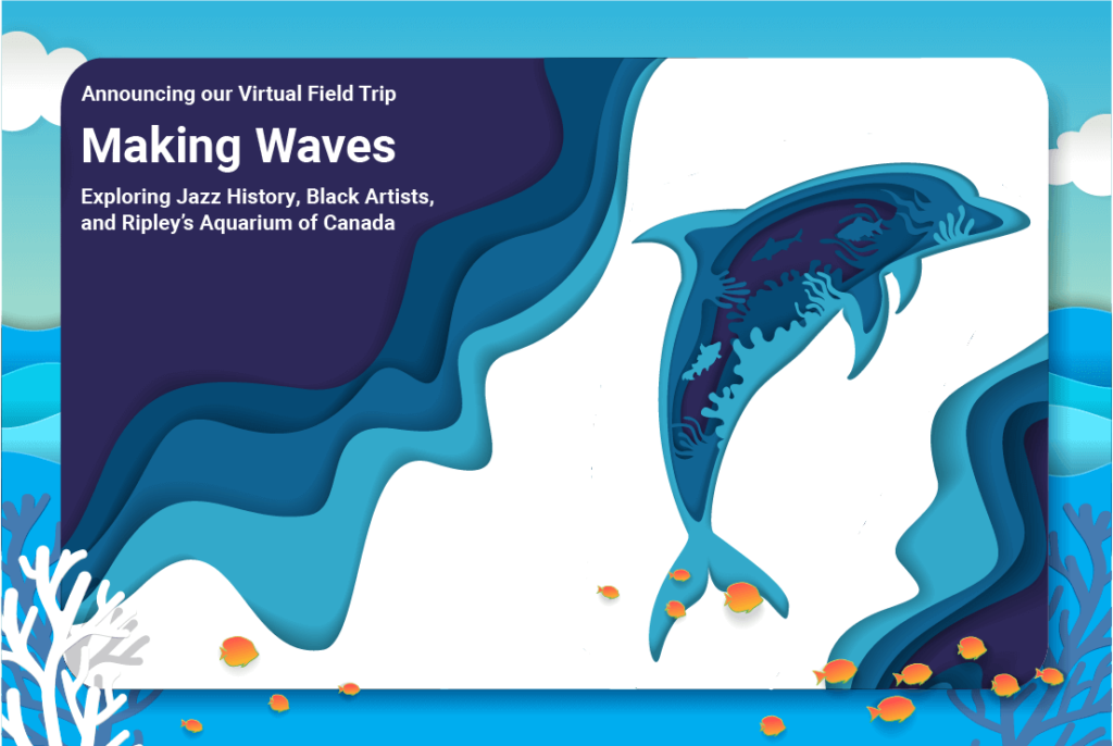 A picture showing a dolphin promoting the virtual field trip making waves